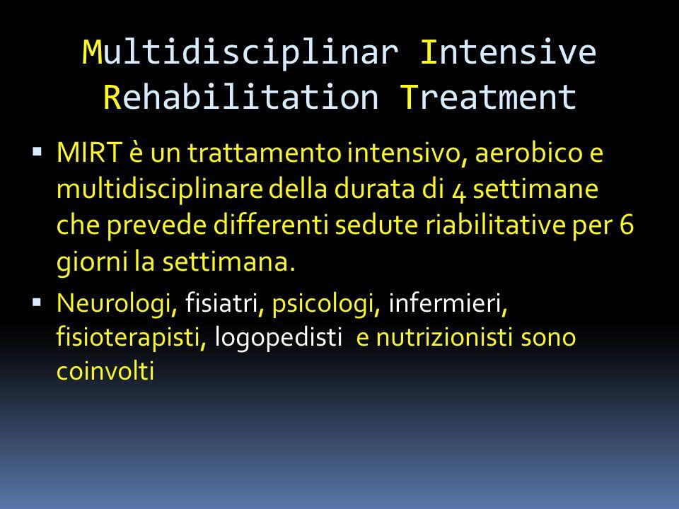 Multidisciplinar Intensive Rehabilitation Treatment intensivo  MIRT è un trattamento intensivo, aerobico e multidisciplinare della durata di 4 settim
