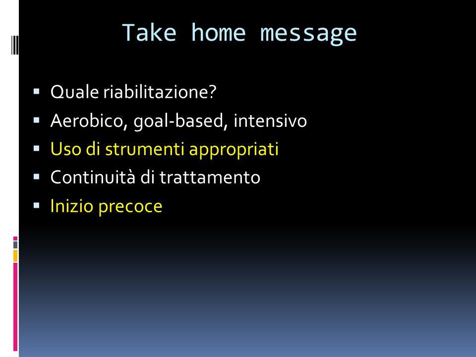 Take home message  Quale riabilitazione?  Aerobico, goal-based, intensivo  Uso di strumenti appropriati  Continuità di trattamento  Inizio precoc