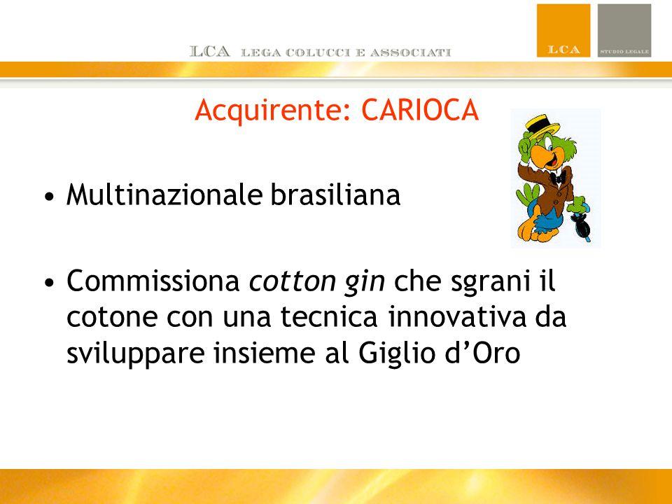 Acquirente: CARIOCA Multinazionale brasiliana Commissiona cotton gin che sgrani il cotone con una tecnica innovativa da sviluppare insieme al Giglio d