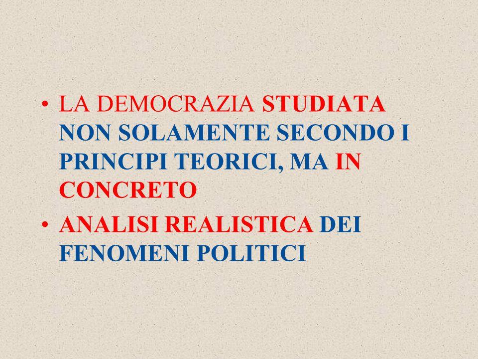 LA DEMOCRAZIA STUDIATA NON SOLAMENTE SECONDO I PRINCIPI TEORICI, MA IN CONCRETO ANALISI REALISTICA DEI FENOMENI POLITICI