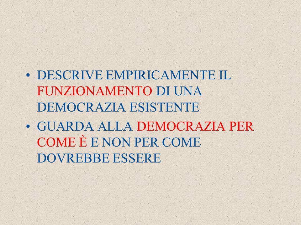 DESCRIVE EMPIRICAMENTE IL FUNZIONAMENTO DI UNA DEMOCRAZIA ESISTENTE GUARDA ALLA DEMOCRAZIA PER COME È E NON PER COME DOVREBBE ESSERE