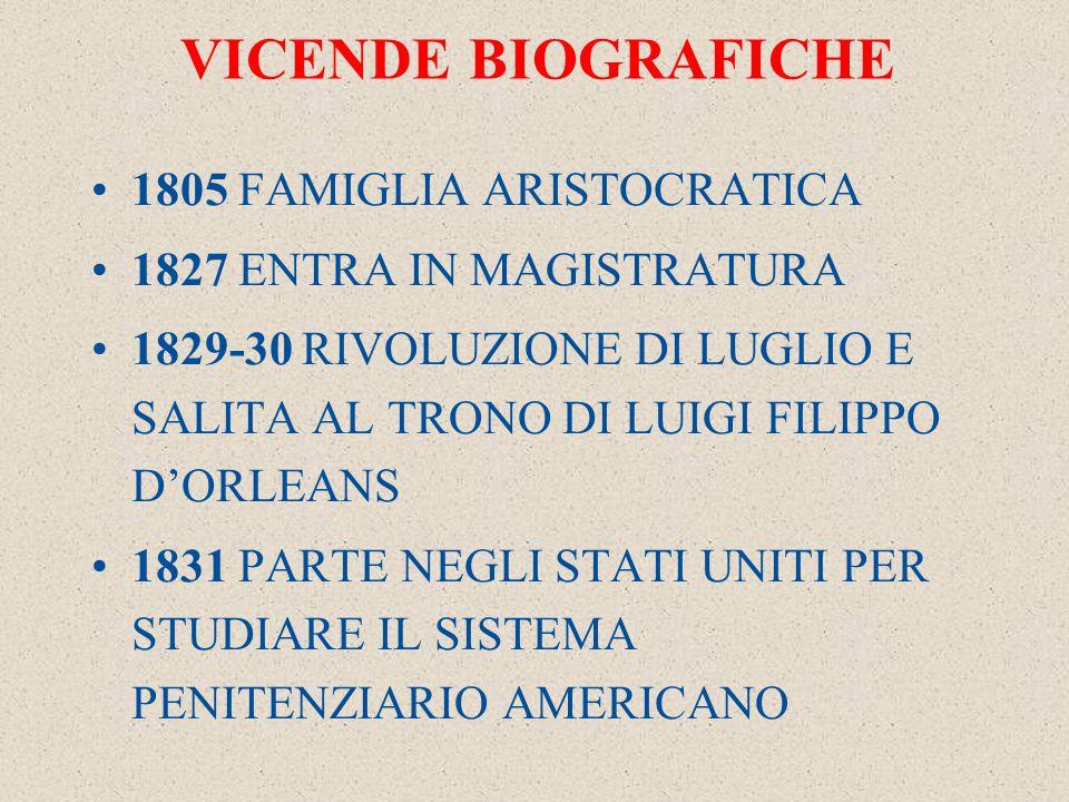 VICENDE BIOGRAFICHE 1805 FAMIGLIA ARISTOCRATICA 1827 ENTRA IN MAGISTRATURA 1829-30 RIVOLUZIONE DI LUGLIO E SALITA AL TRONO DI LUIGI FILIPPO D'ORLEANS 1831 PARTE NEGLI STATI UNITI PER STUDIARE IL SISTEMA PENITENZIARIO AMERICANO