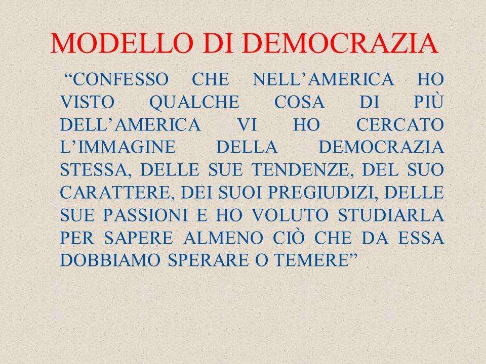 MODELLO DI DEMOCRAZIA CONFESSO CHE NELL'AMERICA HO VISTO QUALCHE COSA DI PIÙ DELL'AMERICA VI HO CERCATO L'IMMAGINE DELLA DEMOCRAZIA STESSA, DELLE SUE TENDENZE, DEL SUO CARATTERE, DEI SUOI PREGIUDIZI, DELLE SUE PASSIONI E HO VOLUTO STUDIARLA PER SAPERE ALMENO CIÒ CHE DA ESSA DOBBIAMO SPERARE O TEMERE