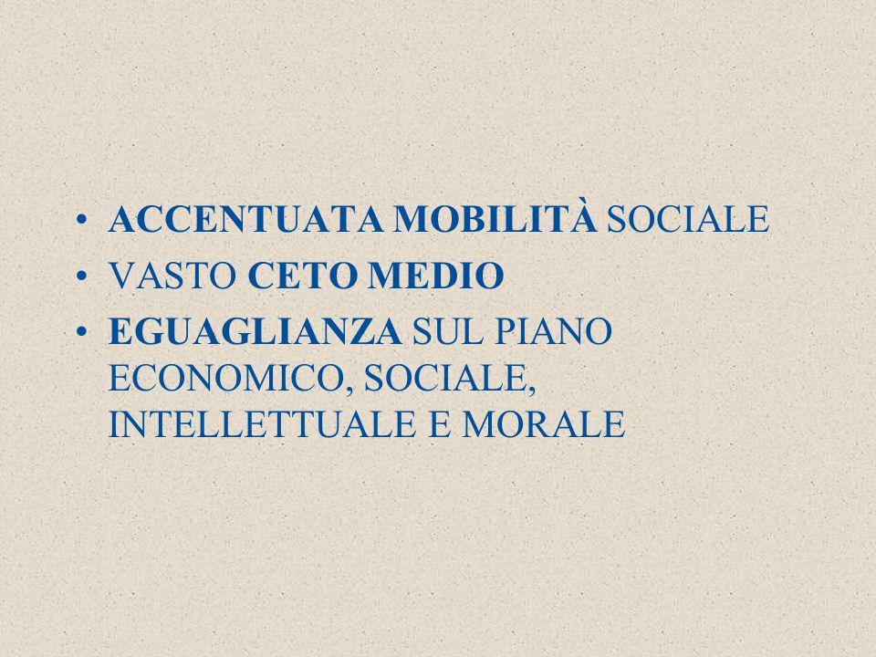 ACCENTUATA MOBILITÀ SOCIALE VASTO CETO MEDIO EGUAGLIANZA SUL PIANO ECONOMICO, SOCIALE, INTELLETTUALE E MORALE