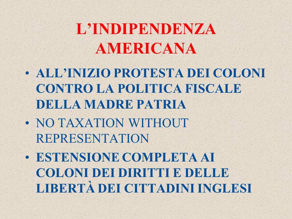 L'INDIPENDENZA AMERICANA ALL'INIZIO PROTESTA DEI COLONI CONTRO LA POLITICA FISCALE DELLA MADRE PATRIA NO TAXATION WITHOUT REPRESENTATION ESTENSIONE COMPLETA AI COLONI DEI DIRITTI E DELLE LIBERTÀ DEI CITTADINI INGLESI