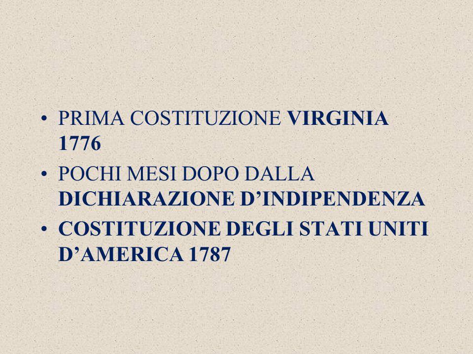 PRIMA COSTITUZIONE VIRGINIA 1776 POCHI MESI DOPO DALLA DICHIARAZIONE D'INDIPENDENZA COSTITUZIONE DEGLI STATI UNITI D'AMERICA 1787