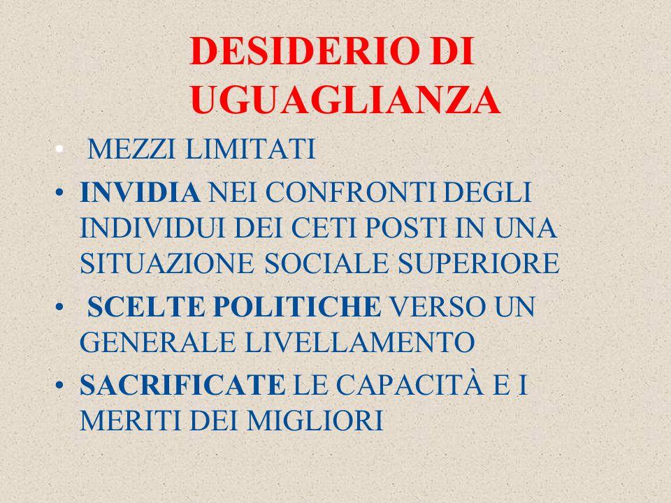 DESIDERIO DI UGUAGLIANZA MEZZI LIMITATI INVIDIA NEI CONFRONTI DEGLI INDIVIDUI DEI CETI POSTI IN UNA SITUAZIONE SOCIALE SUPERIORE SCELTE POLITICHE VERSO UN GENERALE LIVELLAMENTO SACRIFICATE LE CAPACITÀ E I MERITI DEI MIGLIORI