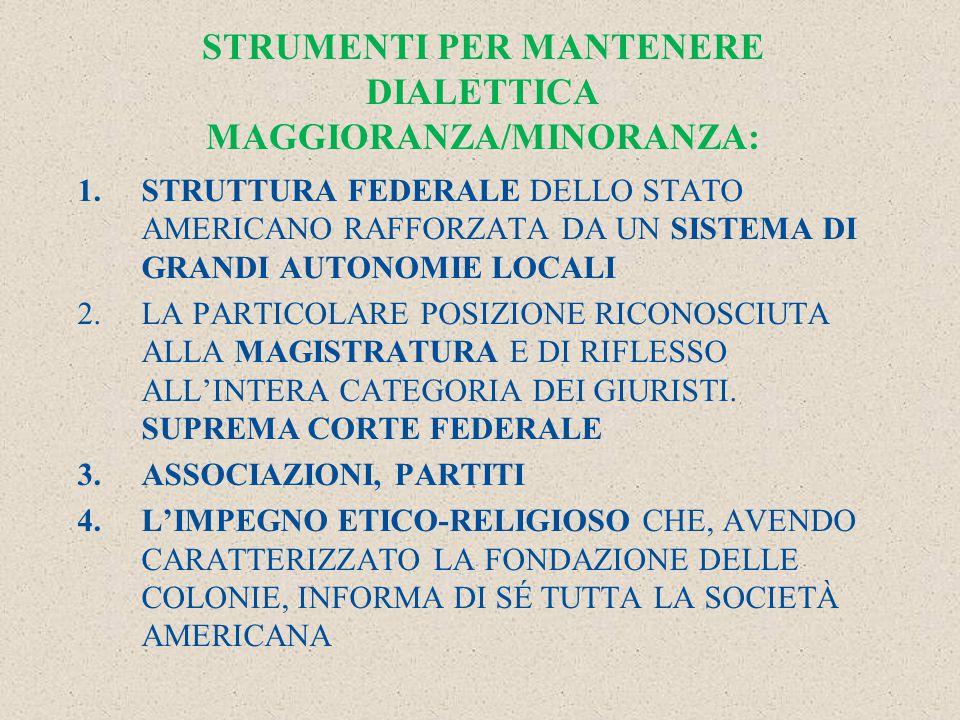 STRUMENTI PER MANTENERE DIALETTICA MAGGIORANZA/MINORANZA: 1.STRUTTURA FEDERALE DELLO STATO AMERICANO RAFFORZATA DA UN SISTEMA DI GRANDI AUTONOMIE LOCALI 2.LA PARTICOLARE POSIZIONE RICONOSCIUTA ALLA MAGISTRATURA E DI RIFLESSO ALL'INTERA CATEGORIA DEI GIURISTI.