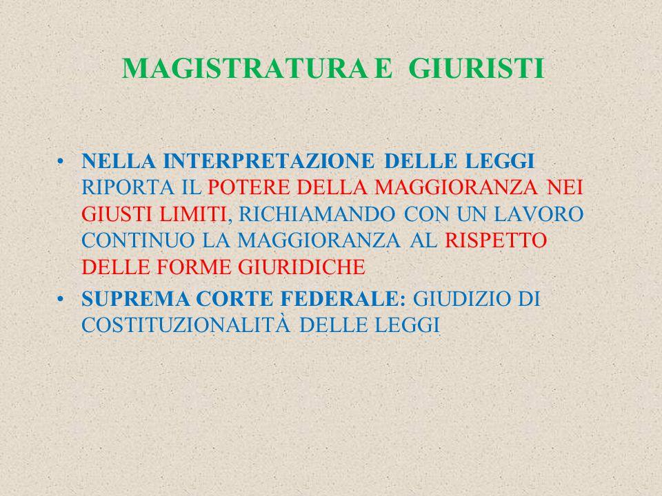 MAGISTRATURA E GIURISTI NELLA INTERPRETAZIONE DELLE LEGGI RIPORTA IL POTERE DELLA MAGGIORANZA NEI GIUSTI LIMITI, RICHIAMANDO CON UN LAVORO CONTINUO LA MAGGIORANZA AL RISPETTO DELLE FORME GIURIDICHE SUPREMA CORTE FEDERALE: GIUDIZIO DI COSTITUZIONALITÀ DELLE LEGGI