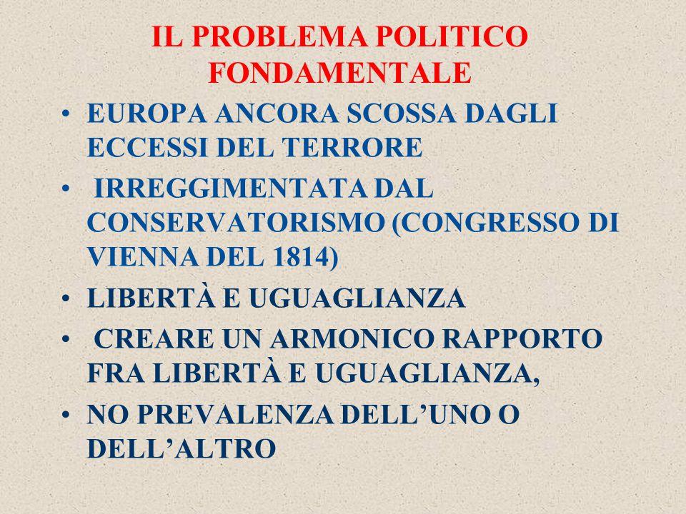IL PROBLEMA POLITICO FONDAMENTALE EUROPA ANCORA SCOSSA DAGLI ECCESSI DEL TERRORE IRREGGIMENTATA DAL CONSERVATORISMO (CONGRESSO DI VIENNA DEL 1814) LIBERTÀ E UGUAGLIANZA CREARE UN ARMONICO RAPPORTO FRA LIBERTÀ E UGUAGLIANZA, NO PREVALENZA DELL'UNO O DELL'ALTRO