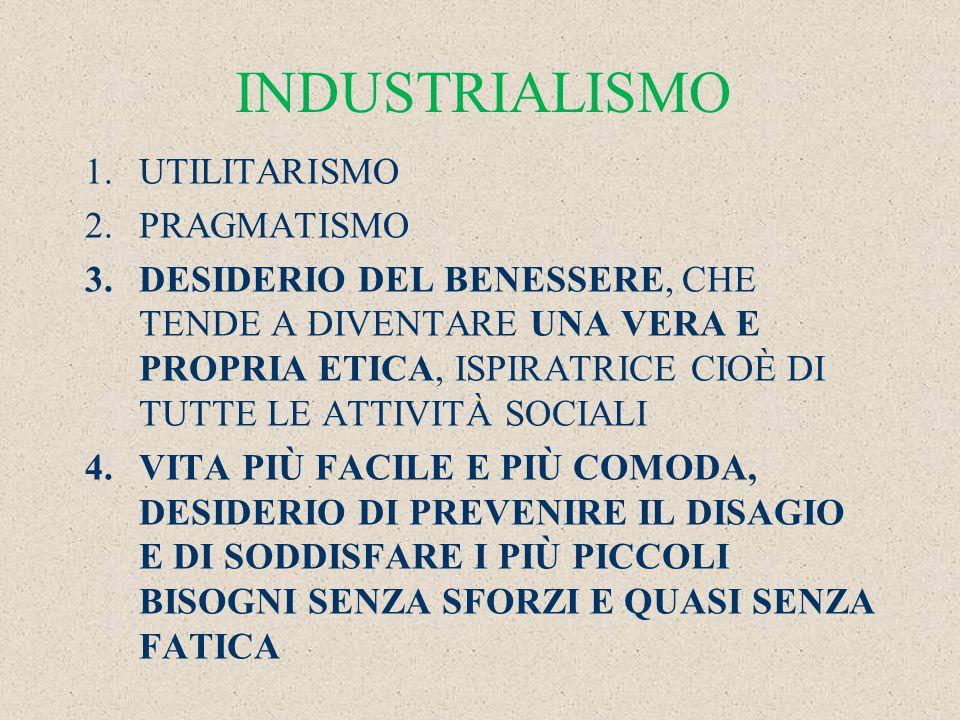 INDUSTRIALISMO 1.UTILITARISMO 2.PRAGMATISMO 3.DESIDERIO DEL BENESSERE, CHE TENDE A DIVENTARE UNA VERA E PROPRIA ETICA, ISPIRATRICE CIOÈ DI TUTTE LE ATTIVITÀ SOCIALI 4.VITA PIÙ FACILE E PIÙ COMODA, DESIDERIO DI PREVENIRE IL DISAGIO E DI SODDISFARE I PIÙ PICCOLI BISOGNI SENZA SFORZI E QUASI SENZA FATICA