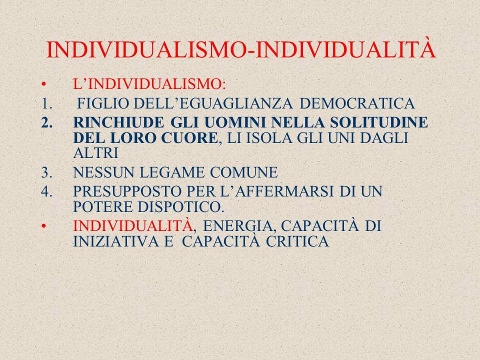 INDIVIDUALISMO-INDIVIDUALITÀ L'INDIVIDUALISMO: 1.