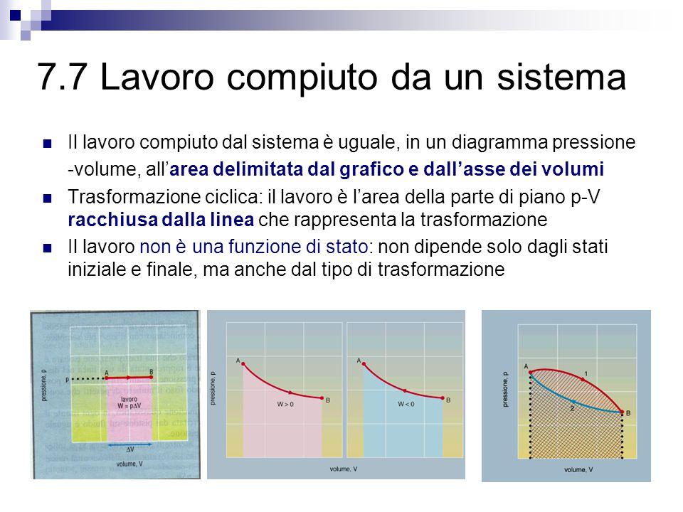 7.7 Lavoro compiuto da un sistema Il lavoro compiuto dal sistema è uguale, in un diagramma pressione -volume, all'area delimitata dal grafico e dall'asse dei volumi Trasformazione ciclica: il lavoro è l'area della parte di piano p-V racchiusa dalla linea che rappresenta la trasformazione Il lavoro non è una funzione di stato: non dipende solo dagli stati iniziale e finale, ma anche dal tipo di trasformazione