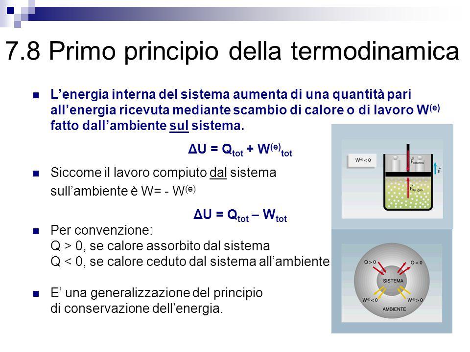 7.8 Primo principio della termodinamica L'energia interna del sistema aumenta di una quantità pari all'energia ricevuta mediante scambio di calore o di lavoro W (e) fatto dall'ambiente sul sistema.