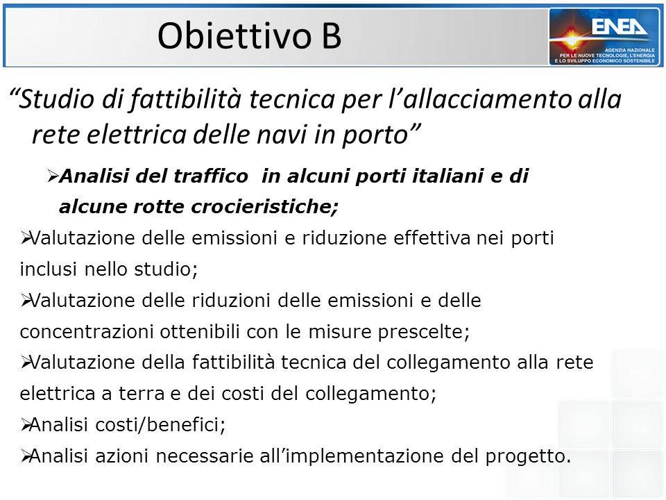 """Obiettivo B """"Studio di fattibilità tecnica per l'allacciamento alla rete elettrica delle navi in porto""""  Analisi del traffico in alcuni porti italian"""