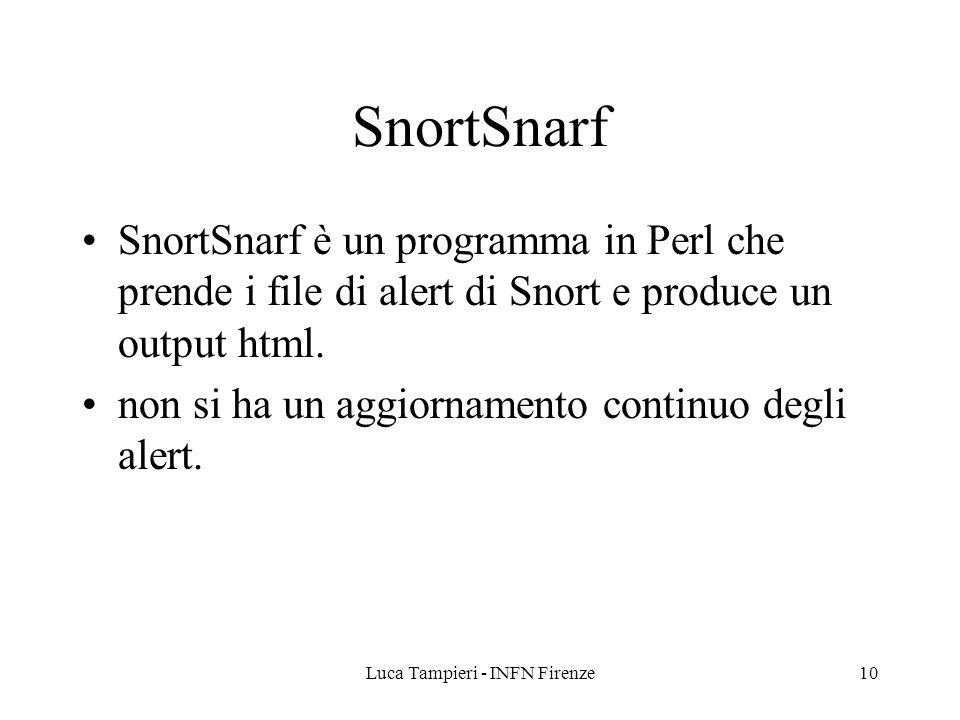 Luca Tampieri - INFN Firenze10 SnortSnarf SnortSnarf è un programma in Perl che prende i file di alert di Snort e produce un output html. non si ha un