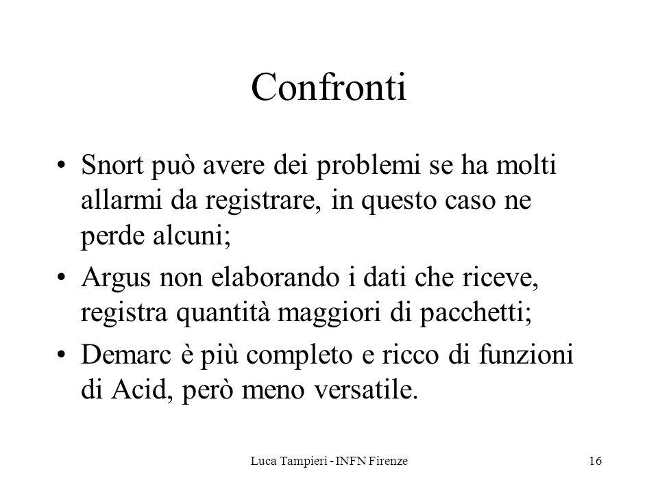 Luca Tampieri - INFN Firenze16 Confronti Snort può avere dei problemi se ha molti allarmi da registrare, in questo caso ne perde alcuni; Argus non elaborando i dati che riceve, registra quantità maggiori di pacchetti; Demarc è più completo e ricco di funzioni di Acid, però meno versatile.