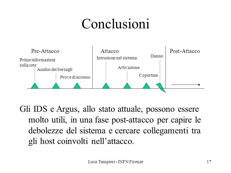 Luca Tampieri - INFN Firenze17 Conclusioni Gli IDS e Argus, allo stato attuale, possono essere molto utili, in una fase post-attacco per capire le debolezze del sistema e cercare collegamenti tra gli host coinvolti nell'attacco.