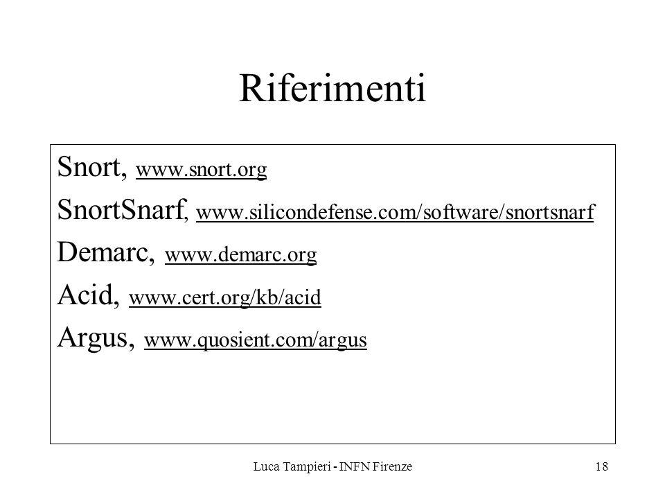 Luca Tampieri - INFN Firenze18 Riferimenti Snort, www.snort.org SnortSnarf, www.silicondefense.com/software/snortsnarf Demarc, www.demarc.org Acid, ww