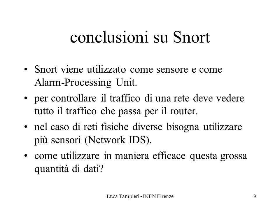 Luca Tampieri - INFN Firenze9 conclusioni su Snort Snort viene utilizzato come sensore e come Alarm-Processing Unit.