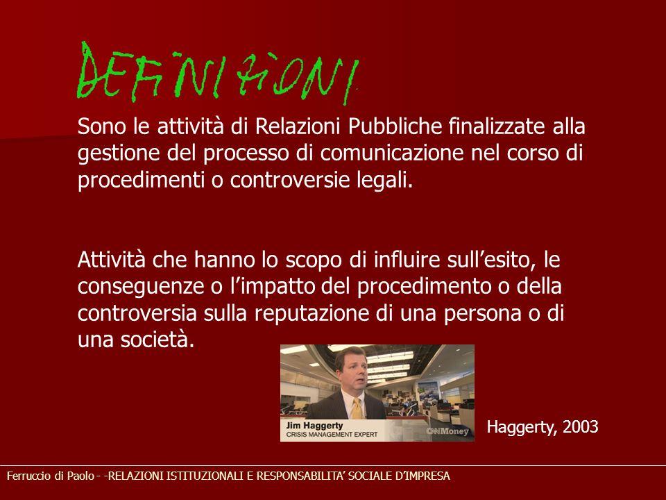 Ferruccio di Paolo - -RELAZIONI ISTITUZIONALI E RESPONSABILITA' SOCIALE D'IMPRESA Sono le attività di Relazioni Pubbliche finalizzate alla gestione de