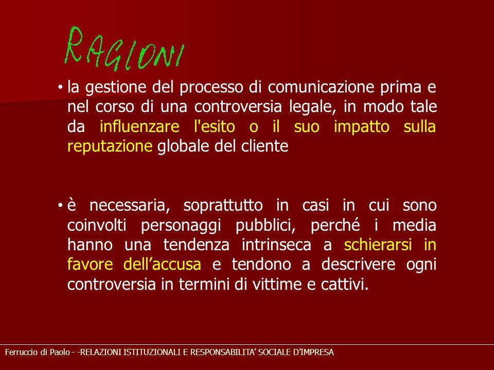 Ferruccio di Paolo - -RELAZIONI ISTITUZIONALI E RESPONSABILITA' SOCIALE D'IMPRESA la gestione del processo di comunicazione prima e nel corso di una c