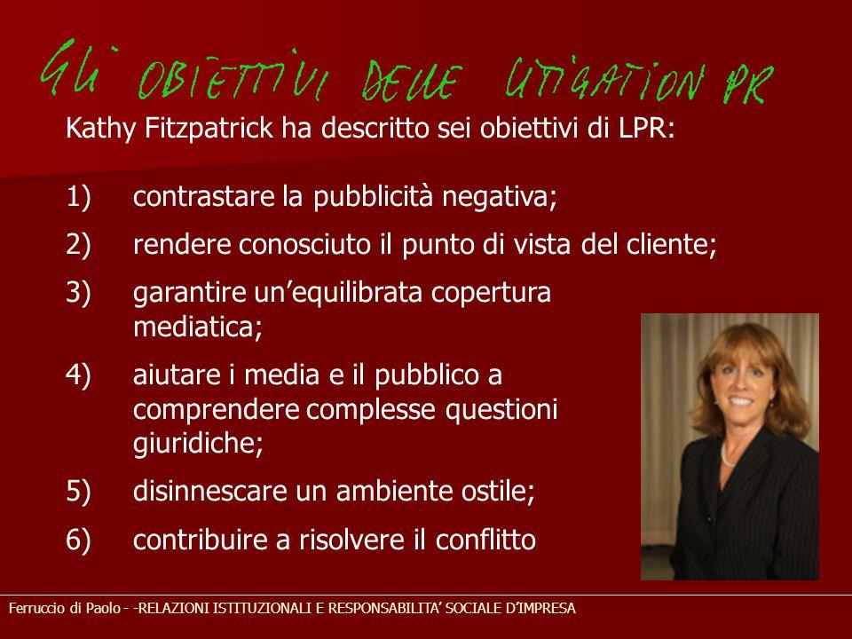 Ferruccio di Paolo - -RELAZIONI ISTITUZIONALI E RESPONSABILITA' SOCIALE D'IMPRESA Kathy Fitzpatrick ha descritto sei obiettivi di LPR: 1) contrastare