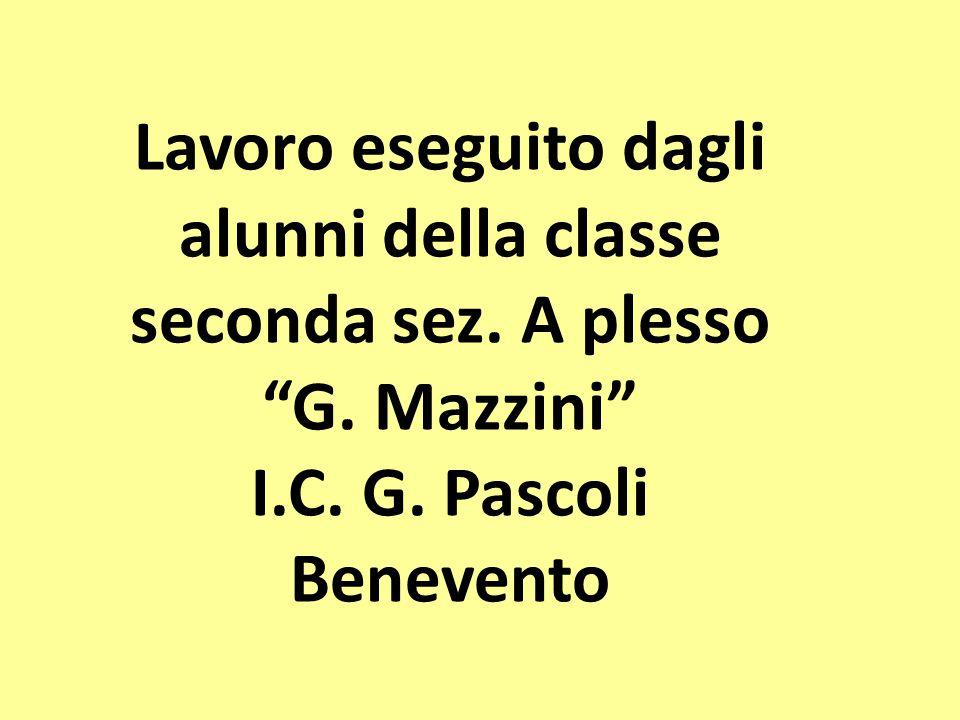 """Lavoro eseguito dagli alunni della classe seconda sez. A plesso """"G. Mazzini"""" I.C. G. Pascoli Benevento"""