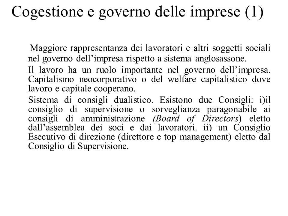 Cogestione e governo delle imprese (1) Maggiore rappresentanza dei lavoratori e altri soggetti sociali nel governo dell'impresa rispetto a sistema ang