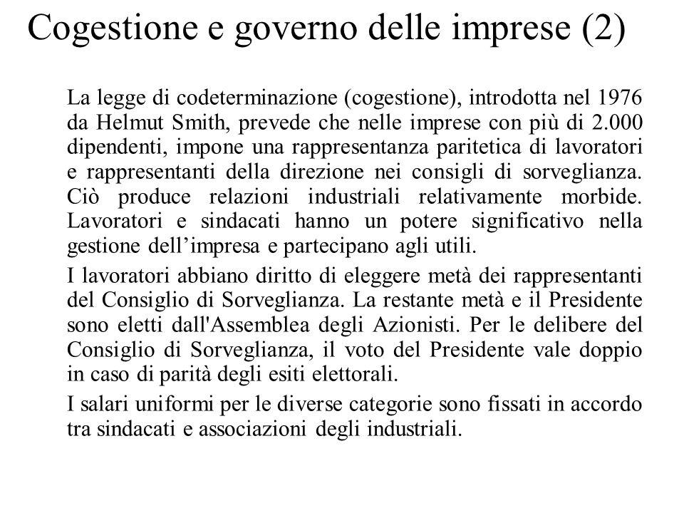 Cogestione e governo delle imprese (2) La legge di codeterminazione (cogestione), introdotta nel 1976 da Helmut Smith, prevede che nelle imprese con p