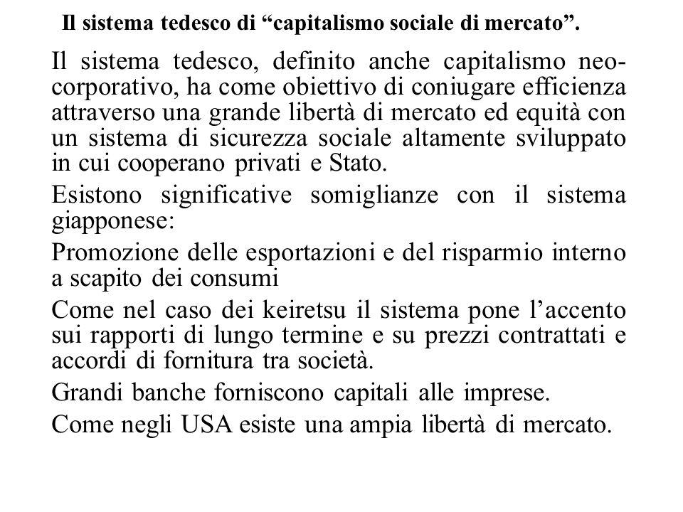 """Il sistema tedesco di """"capitalismo sociale di mercato"""". Il sistema tedesco, definito anche capitalismo neo- corporativo, ha come obiettivo di coniugar"""