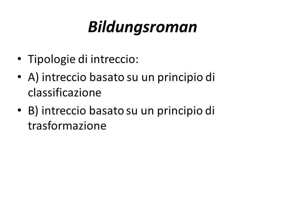 Bildungsroman Tipologie di intreccio: A) intreccio basato su un principio di classificazione B) intreccio basato su un principio di trasformazione