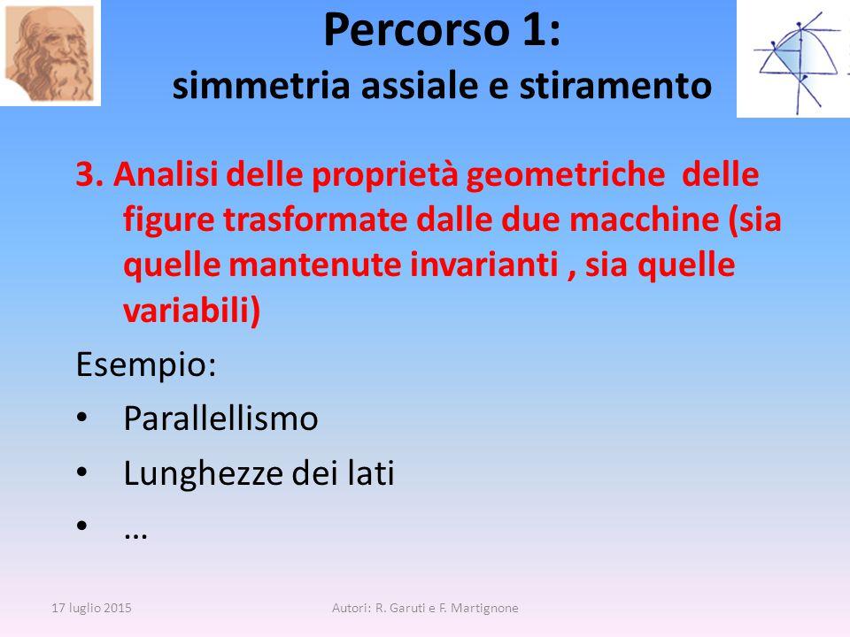3. Analisi delle proprietà geometriche delle figure trasformate dalle due macchine (sia quelle mantenute invarianti, sia quelle variabili) Esempio: Pa