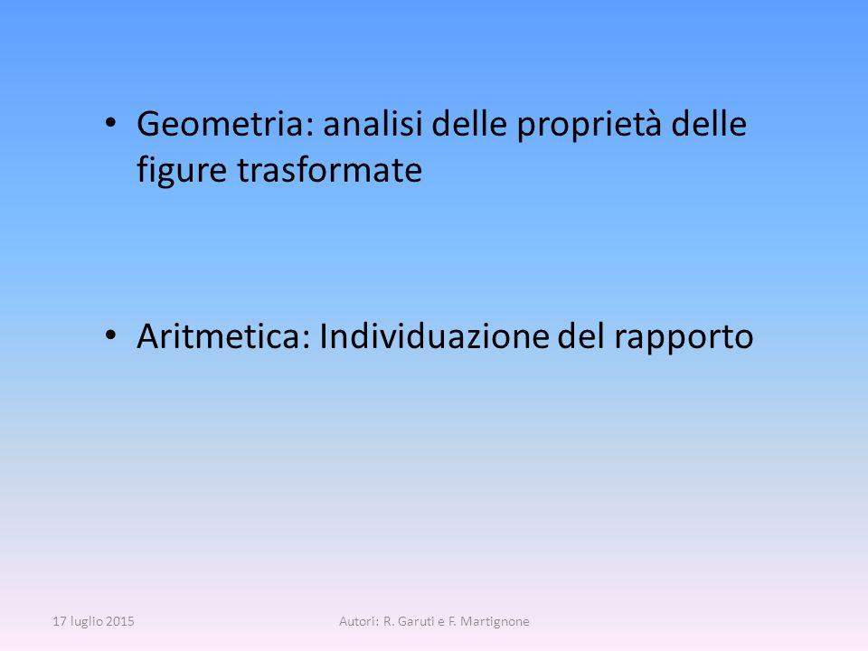 Geometria: analisi delle proprietà delle figure trasformate Aritmetica: Individuazione del rapporto 17 luglio 2015Autori: R. Garuti e F. Martignone
