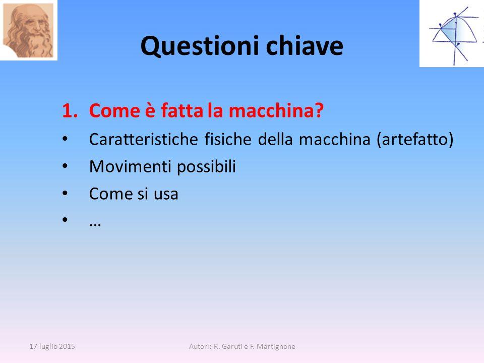 Questioni chiave 1.Come è fatta la macchina? Caratteristiche fisiche della macchina (artefatto) Movimenti possibili Come si usa … 17 luglio 2015Autori