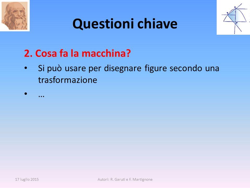 2. Cosa fa la macchina? Si può usare per disegnare figure secondo una trasformazione … Questioni chiave 17 luglio 2015Autori: R. Garuti e F. Martignon