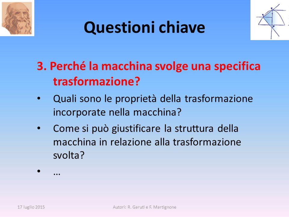 Questioni chiave 3. Perché la macchina svolge una specifica trasformazione? Quali sono le proprietà della trasformazione incorporate nella macchina? C