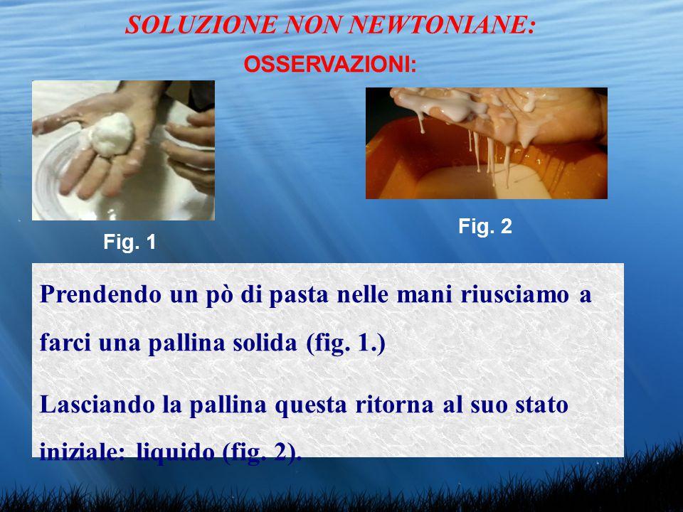 Fig. 1 Fig. 2 SOLUZIONE NON NEWTONIANE: OSSERVAZIONI: Prendendo un pò di pasta nelle mani riusciamo a farci una pallina solida (fig. 1.) Lasciando la