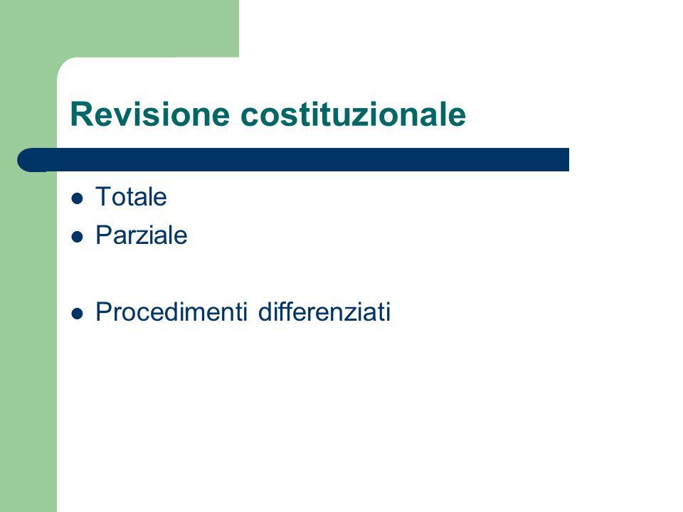 Revisione costituzionale Totale Parziale Procedimenti differenziati