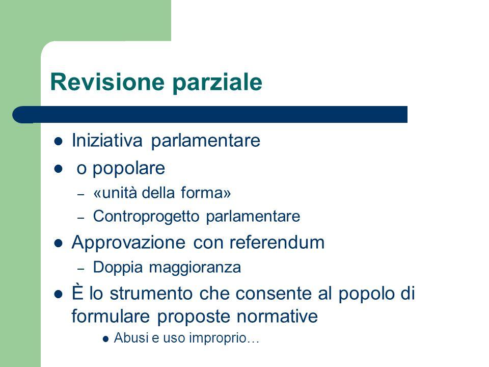 Revisione parziale Iniziativa parlamentare o popolare – «unità della forma» – Controprogetto parlamentare Approvazione con referendum – Doppia maggior