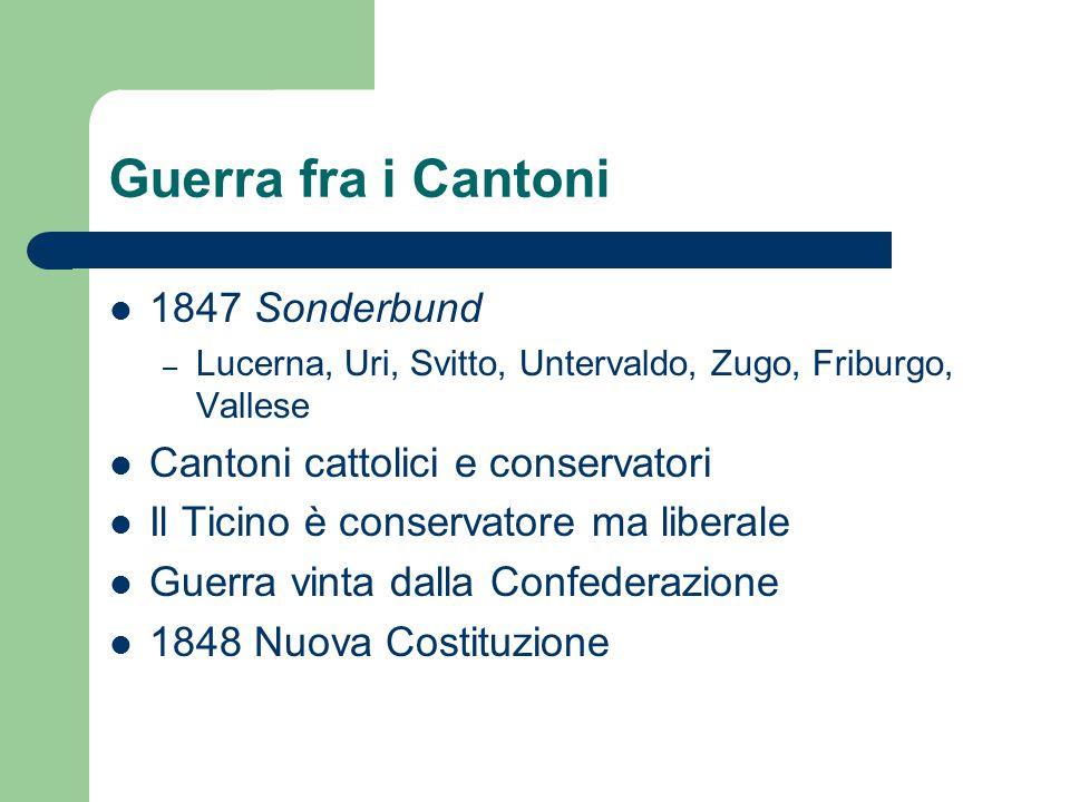 Guerra fra i Cantoni 1847 Sonderbund – Lucerna, Uri, Svitto, Untervaldo, Zugo, Friburgo, Vallese Cantoni cattolici e conservatori Il Ticino è conserva