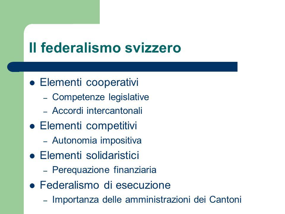 Il federalismo svizzero Elementi cooperativi – Competenze legislative – Accordi intercantonali Elementi competitivi – Autonomia impositiva Elementi so