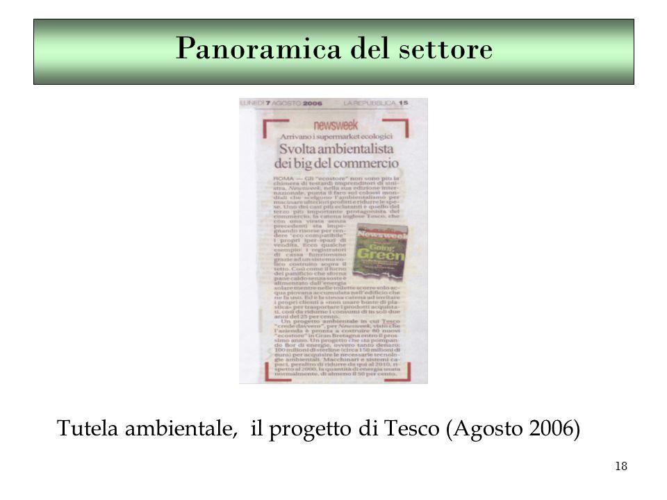 18 Tutela ambientale, il progetto di Tesco (Agosto 2006) Panoramica del settore