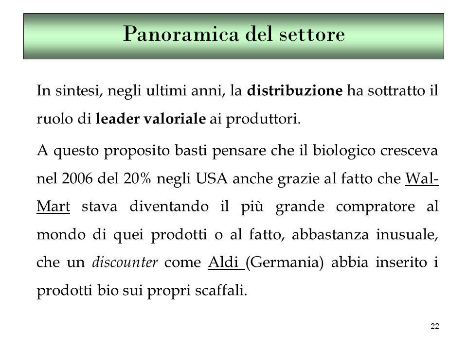 22 In sintesi, negli ultimi anni, la distribuzione ha sottratto il ruolo di leader valoriale ai produttori.