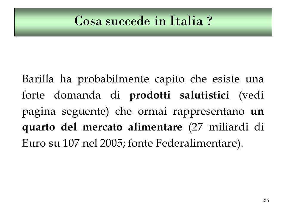 26 Barilla ha probabilmente capito che esiste una forte domanda di prodotti salutistici (vedi pagina seguente) che ormai rappresentano un quarto del mercato alimentare (27 miliardi di Euro su 107 nel 2005; fonte Federalimentare).