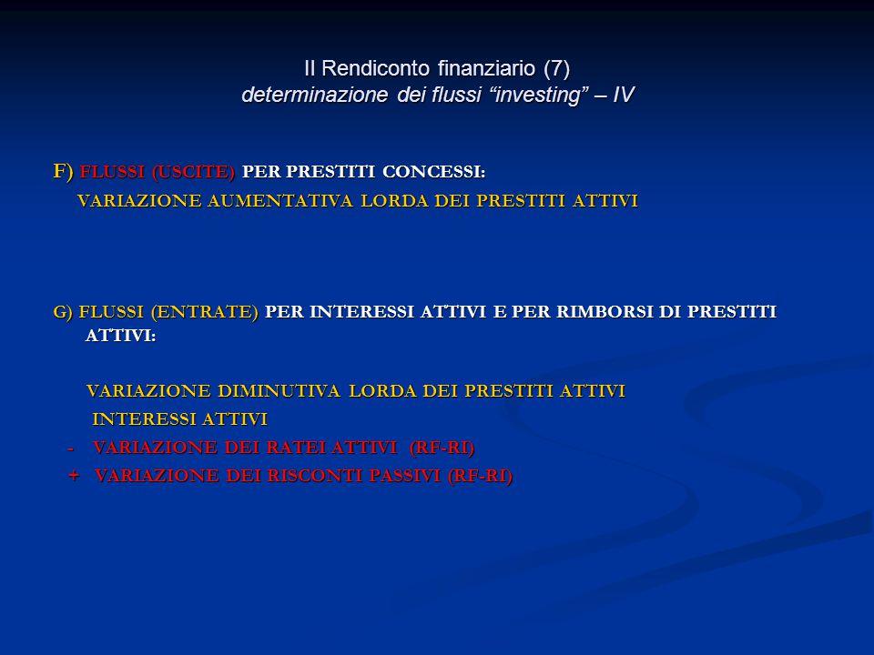 Il Rendiconto finanziario (7) determinazione dei flussi investing – IV F) FLUSSI (USCITE) PER PRESTITI CONCESSI: VARIAZIONE AUMENTATIVA LORDA DEI PRESTITI ATTIVI VARIAZIONE AUMENTATIVA LORDA DEI PRESTITI ATTIVI G) FLUSSI (ENTRATE) PER INTERESSI ATTIVI E PER RIMBORSI DI PRESTITI ATTIVI: VARIAZIONE DIMINUTIVA LORDA DEI PRESTITI ATTIVI VARIAZIONE DIMINUTIVA LORDA DEI PRESTITI ATTIVI INTERESSI ATTIVI INTERESSI ATTIVI - VARIAZIONE DEI RATEI ATTIVI (RF-RI) - VARIAZIONE DEI RATEI ATTIVI (RF-RI) + VARIAZIONE DEI RISCONTI PASSIVI (RF-RI) + VARIAZIONE DEI RISCONTI PASSIVI (RF-RI)