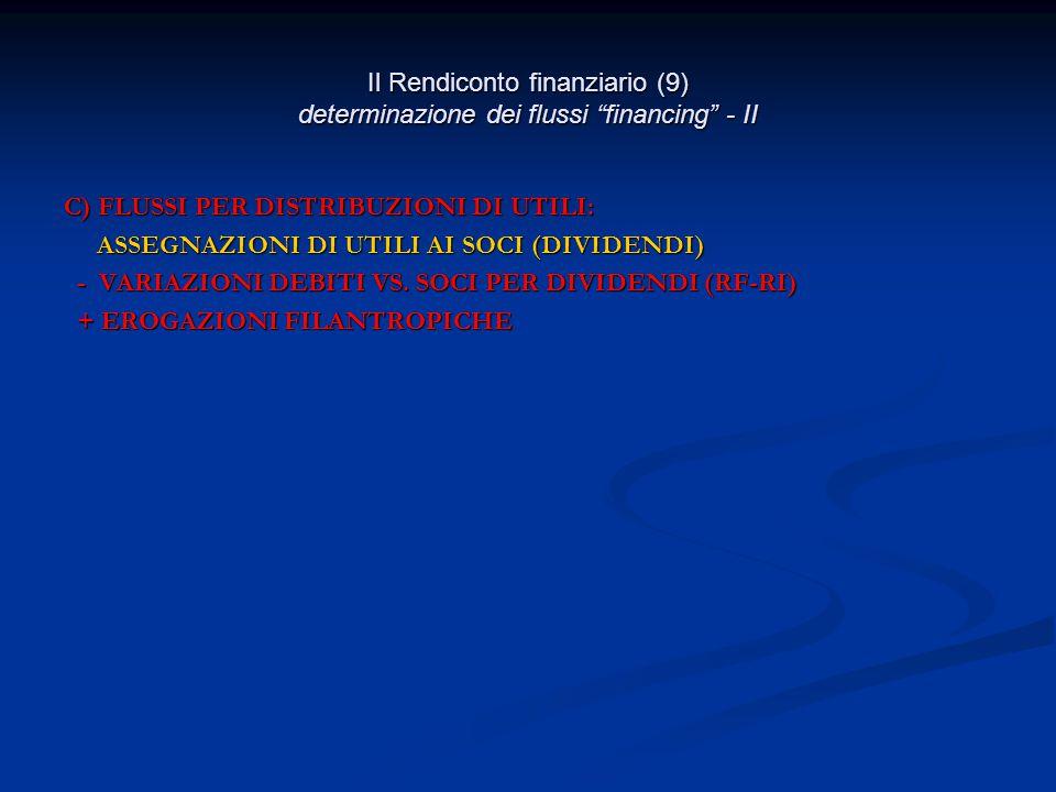 Il Rendiconto finanziario (9) determinazione dei flussi financing - II C) FLUSSI PER DISTRIBUZIONI DI UTILI: ASSEGNAZIONI DI UTILI AI SOCI (DIVIDENDI) ASSEGNAZIONI DI UTILI AI SOCI (DIVIDENDI) - VARIAZIONI DEBITI VS.