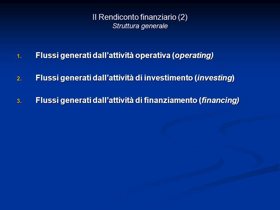Il Rendiconto finanziario (2) Struttura generale 1.