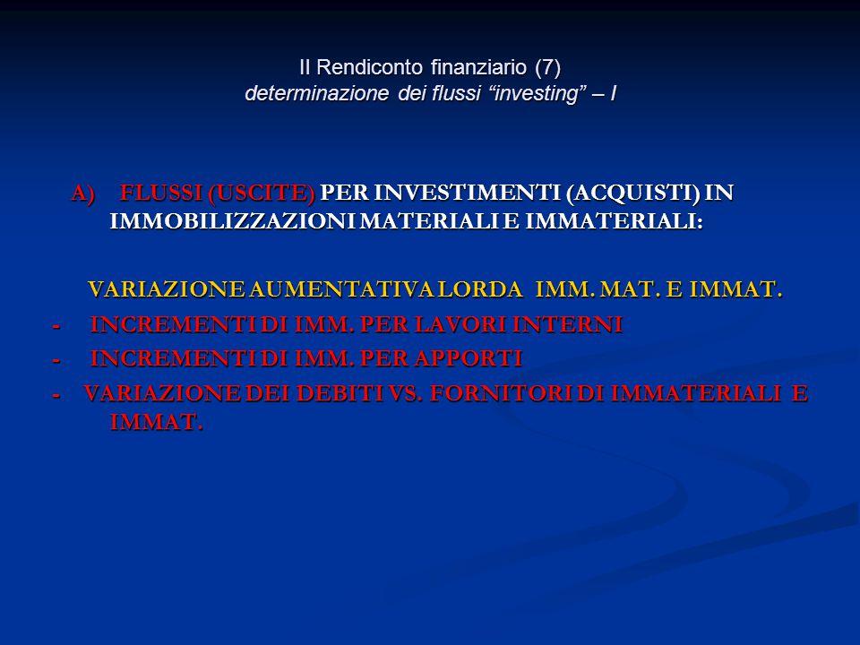 Il Rendiconto finanziario (7) determinazione dei flussi investing – I A) FLUSSI (USCITE) PER INVESTIMENTI (ACQUISTI) IN IMMOBILIZZAZIONI MATERIALI E IMMATERIALI: A) FLUSSI (USCITE) PER INVESTIMENTI (ACQUISTI) IN IMMOBILIZZAZIONI MATERIALI E IMMATERIALI: VARIAZIONE AUMENTATIVA LORDA IMM.