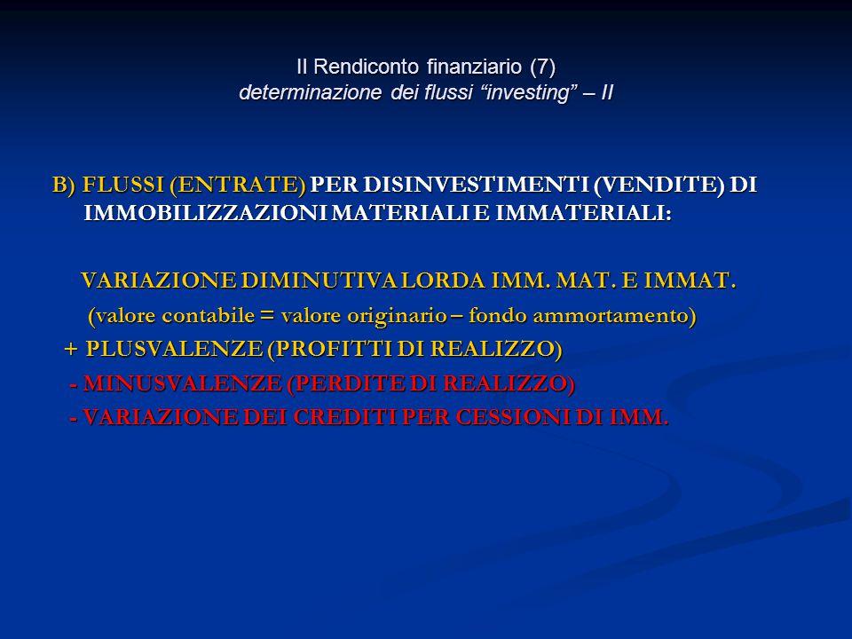 Il Rendiconto finanziario (7) determinazione dei flussi investing – II B) FLUSSI (ENTRATE) PER DISINVESTIMENTI (VENDITE) DI IMMOBILIZZAZIONI MATERIALI E IMMATERIALI: VARIAZIONE DIMINUTIVA LORDA IMM.